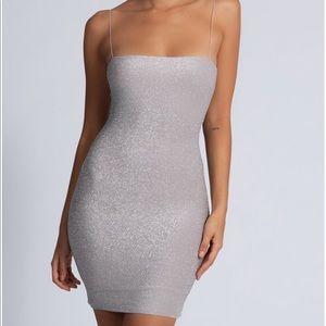 MESHKI mia thin strap shimmer mini dress - silver